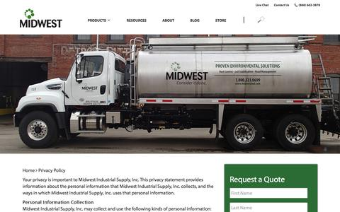 Screenshot of Privacy Page midwestind.com - Privacy Policy - Midwest Industrial Supply - captured Aug. 21, 2019