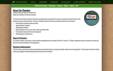 Screenshot of About Page streatorchamber.com - About Us  |  Streator Area Chamber of Commerce - captured Oct. 7, 2014
