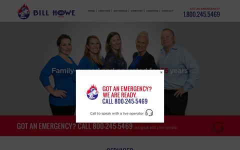 Screenshot of Home Page billhowe.com - San Diego Plumbers, Plumbers San Diego, Bill Howe Plumbing - captured Sept. 13, 2015