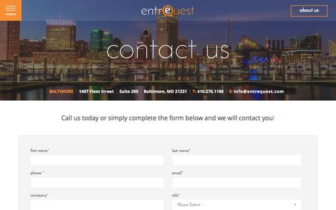 Screenshot of Contact Page entrequest.com - Contact - captured July 19, 2016