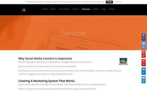 Screenshot of Services Page socialadvisors.co.uk - Why Social Media Content Is Important - captured Aug. 12, 2015