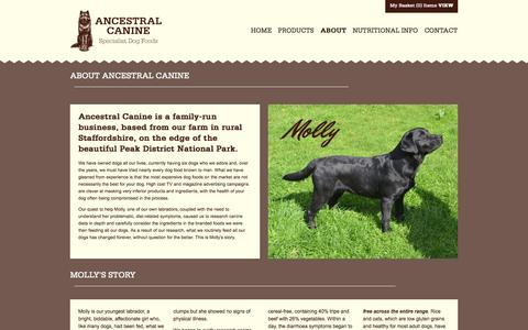 Screenshot of About Page ancestralcanine.co.uk - About Ancestral Canine - captured Sept. 30, 2014