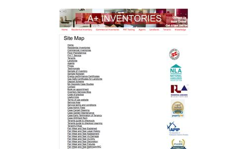 Screenshot of Site Map Page aplusinventories.co.uk - Site Map - A+ Inventories - captured Oct. 23, 2014