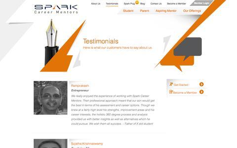Screenshot of Testimonials Page sparkcareermentors.com - Testimonials | sparkcareermentors.com - captured Oct. 7, 2014
