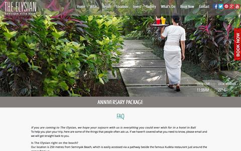 Screenshot of FAQ Page theelysian.com - FAQs | The Elysian | Seminyak, Bali - captured Oct. 26, 2014