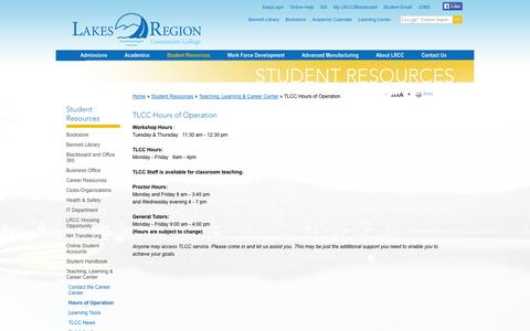 Screenshot of Hours Page lrcc.edu - TLCC Hours of Operation   Lakes Region Community College - New Hampshire - captured Oct. 1, 2014
