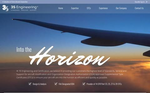 Screenshot of Home Page 3s-engineering.com - 3S Engineering and Certification | Design Engineering, STC Services - captured Oct. 19, 2018