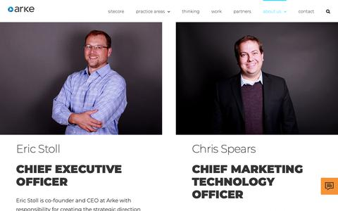 Screenshot of Team Page arke.com - Our Leadership has a Driving Passion for Marketing Technology | Arke - captured Feb. 16, 2019