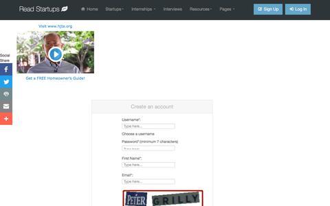 Screenshot of Signup Page readstartups.com - Online platform for Startups, Business Ideas, Entrepreneurs, Startup tools | Read Startups - captured June 28, 2017