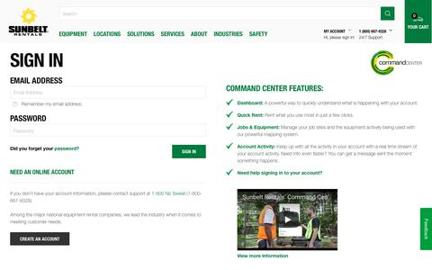 Screenshot of Login Page sunbeltrentals.com - Login   Sunbelt Rentals - captured April 9, 2018