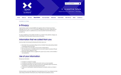Screenshot of Privacy Page apexscotland.org.uk - Privacy - captured Oct. 29, 2014