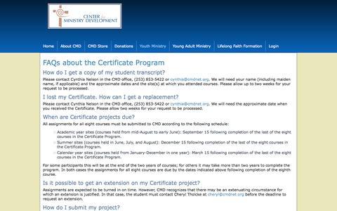 Screenshot of FAQ Page cmdnet.org - FAQs about the Certificate Program - captured Oct. 2, 2014
