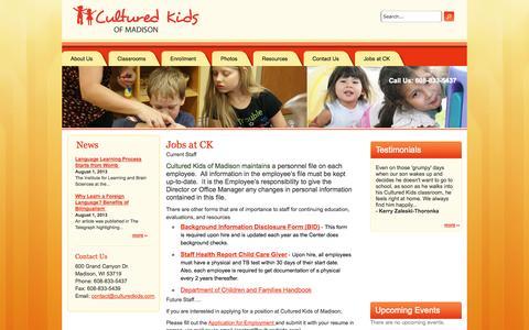 Screenshot of Jobs Page culturedkidsofmadison.com - Jobs at CK   Cultured Kids of Madison - captured Oct. 3, 2014