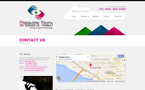 Screenshot of Contact Page creatorstouchglobal.com - ::Creators Touch  NO.1 Website Designing Company In Vijayawada::  WEBSITE DESIGNING, DEVELOPMENT IN VIZAG, VISAKHAPATNAM,RAJAHAMNDRY,KAKINADA,VIJAYAWADA,VIJAYANAGARAM webdesigning company in vijayawada   webdesigning company guntur   web designing in - captured Oct. 1, 2014