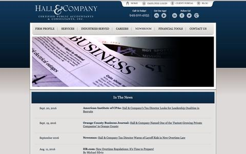 Screenshot of Press Page hallcpas.com - Accounting in Orange County – Hall & Company CPA - captured Oct. 19, 2016