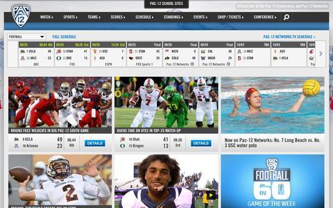 Screenshot of Home Page pac-12.com - Pac-12 - captured Sept. 26, 2015