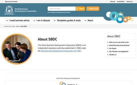 Screenshot of smallbusiness.wa.gov.au - About SBDC | Small Business - captured Dec. 22, 2016