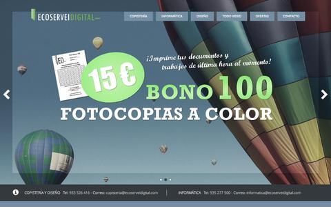Screenshot of Home Page ecoserveidigital.com - Ecoservei Digital - Copisteria, Servicios digitales, Informatica - captured Oct. 23, 2016