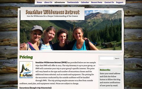 Screenshot of Pricing Page sonshinewildernessretreat.org - Pricing | Sonshine Wilderness Retreat - captured Oct. 7, 2014