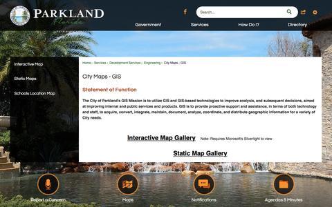 Screenshot of Maps & Directions Page cityofparkland.org - City Maps - GIS | Parkland, FL - captured May 17, 2017