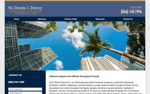 Screenshot of Home Page stdenisdavey.com - Florida Insurance Defense Lawyer - Florida Car Dealership Defense Attorney - St. Denis & Davey - captured Nov. 7, 2017