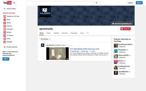 Screenshot of YouTube Page youtube.com - agreedrealty  - YouTube - captured Oct. 23, 2014