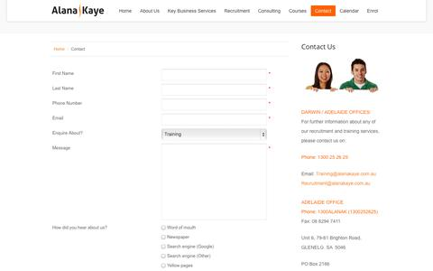 Screenshot of Contact Page alanakaye.edu.au - Contact Form - captured Oct. 4, 2014