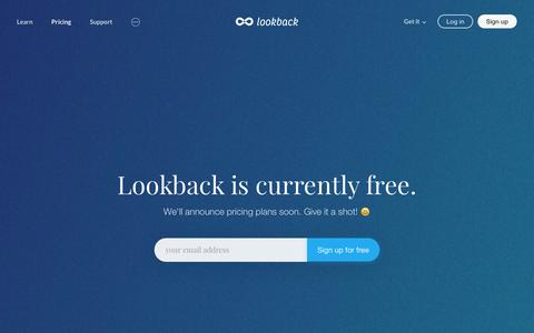 Screenshot of Pricing Page lookback.io - Pricing | Lookback - captured July 4, 2016