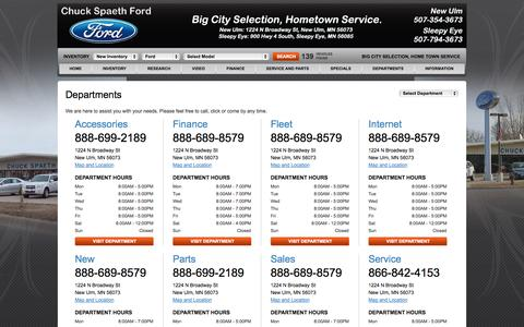 Screenshot of Hours Page spaethford.com - Ford Dealership | New Ulm, Sleepy Eye | Business Hours & Phone Numbers - captured Oct. 2, 2014