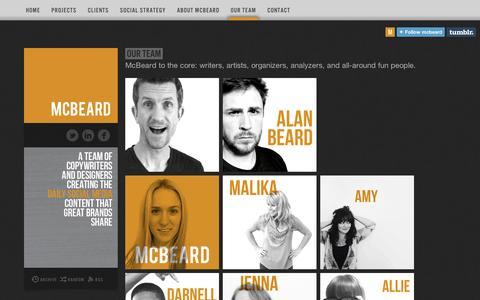 Screenshot of Team Page tumblr.com - Our Team   McBeard - captured Sept. 11, 2014