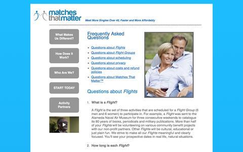 Screenshot of FAQ Page matchesthatmatter.com - Matches That Matter - captured Jan. 9, 2016