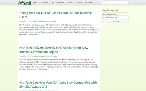 Screenshot of Press Page nor-tech.com - news | Nor-Tech - Innovative HPC Solutions - captured Sept. 30, 2014