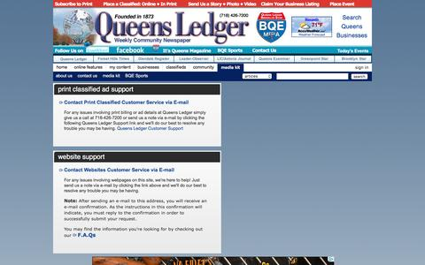 Screenshot of Support Page queensledger.com - Queens Ledger - Breaking news, classifieds, businesses, events in Queens, New York. - captured Sept. 15, 2016