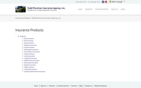 Screenshot of Products Page toddplummeragency.com - Insurance Products - Todd Plummer Insurance Agency, Inc. - captured Dec. 2, 2016