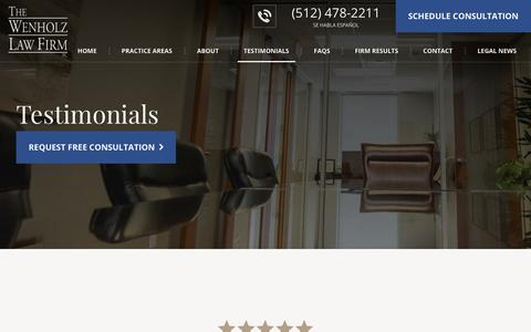 Screenshot of Testimonials Page wenholz.com - Client Testimonials | The Wenholz Law Firm Reviews - captured Oct. 18, 2018