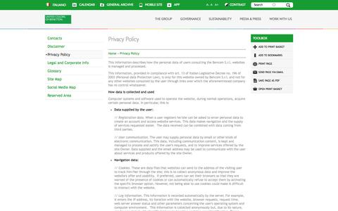 Screenshot of Privacy Page benettongroup.com - Privacy Policy | Benetton Group - Corporate Website - captured Sept. 19, 2014