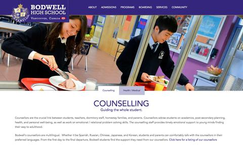 Screenshot of Services Page bodwell.edu - Counselling & Support   BODWELL HIGH SCHOOL - captured Sept. 22, 2018