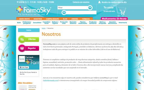Screenshot of About Page farmasky.com - FarmaSky Nosotros - captured Oct. 17, 2018