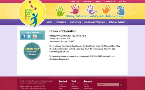 Screenshot of Hours Page schreiberpediatric.org - Schreiber Pediatric Center - Hours - captured Oct. 4, 2014
