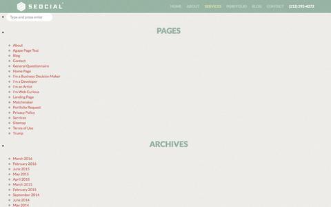 Screenshot of Site Map Page seocial.com - Sitemap | SEOcial - captured July 20, 2016