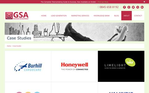 Screenshot of Case Studies Page gsa-marketing.co.uk - Case Studies - GSA Business Development Ltd - captured July 12, 2017