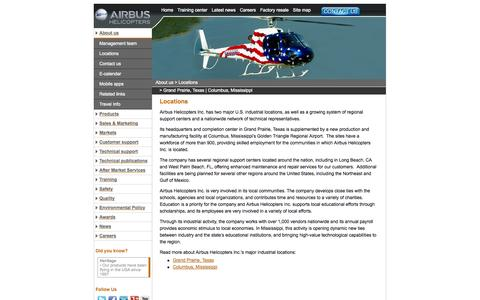 Screenshot of Locations Page airbushelicoptersinc.com - Airbus Helicopters, Inc. |  Purchase Helicopter Manufacturer Sale | USA Locations - captured Sept. 30, 2014