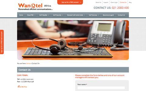 Screenshot of Contact Page wanatel.co.za - Wanatel South Africa - Contact | Wanatel - captured Oct. 7, 2014