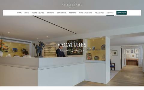 Screenshot of Jobs Page ambassade-hotel.nl - Vacatures bij het Ambassade Hotel en Brasserie Ambassade - Amsterdam - captured July 29, 2018