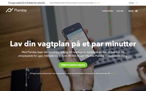 Screenshot of Home Page planday.dk - Vagtplanlægning gjort nemt. | Planday - captured Feb. 29, 2016