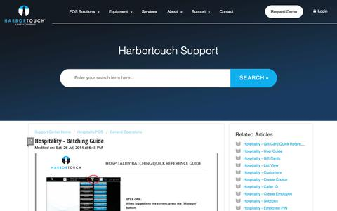 Screenshot of Support Page harbortouch.com - Hospitality - Batching Guide : Harbortouch Support Center - captured Oct. 9, 2018