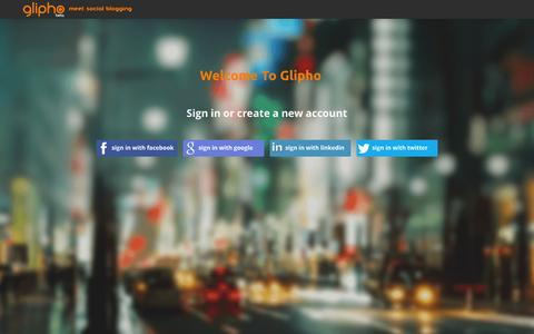 Screenshot of Signup Page glipho.com - glipho - log in - captured Sept. 11, 2014