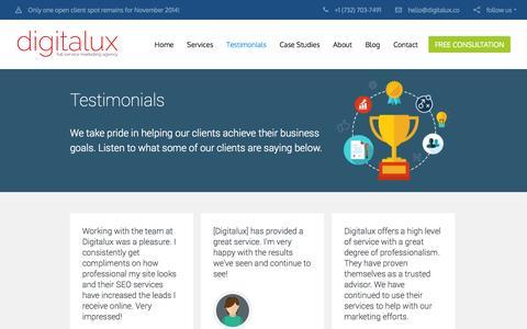 Digital Marketing Testimonials | Digitalux