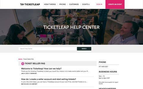 Screenshot of FAQ Page ticketleap.com - TicketLeap |         Ticket Seller FAQ - captured Sept. 12, 2014