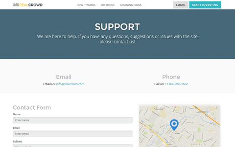 Screenshot of Support Page realcrowd.com - RealCrowd Support - captured Oct. 10, 2014